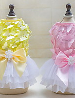 Other Dress Dog Clothes Cute Casual/Daily Wedding Princess Blushing Pink Yellow
