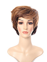 Short Natural Looking Wave Brown Mixed Color Synthetic Wig Heat Resistant