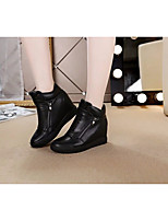 Women's Boots Comfort PU Leather Spring Casual Black White Flat