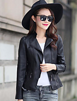 Women's Daily Casual Contemporary Spring Fall Leather Jacket,Solid Notch Lapel Long Sleeve Short PU