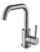 Contemporary Art Deco/Retro Modern Vessel Widespread with  Ceramic Valve Single Handle One Hole for  Nickel Brushed , Bathroom Sink Faucet