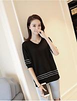 Women's Daily Casual Simple Cute Short Pullover,Solid V Neck ½ Length Sleeve Others Spring Medium Micro-elastic