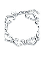 Exquisite Silver Plated Clear Crystal Heart to Heart Chain & Link Bracelets Jewellery for Women Accessiories