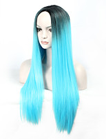Ladies Women Party Straight Hair Full Wig Daily Wearing Heat Resistant Cosplay Black To Bule Mixed Color Synthetic Wigs