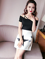 Women's Casual/Daily Simple Summer T-shirt Skirt Suits,Print Boat Neck Short Sleeve Micro-elastic