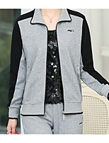 Women's Casual/Daily Sports Simple Chinoiserie Fall Hoodie Pant Suits,Solid Stand Long Sleeve Micro-elastic
