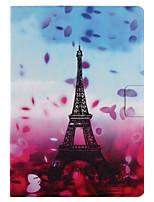 Pour Etuis coque Porte Carte Avec Support Clapet Motif Smart Touch Coque Intégrale Coque Fleur Tour Eiffel Dur Cuir PU pour AppleiPad