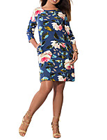 Women's Plus Size Work Party Vintage Sheath Dress,Floral Round Neck Knee-length ¾ Sleeve Polyester Summer High Rise Micro-elastic Medium