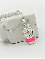 Pendant Necklace Rabbit Rhinestone Hollow Lovely  Alloy Sweater Chain Daughter Gift