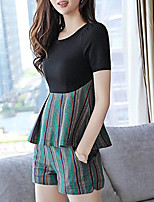 Women's Casual/Daily Work Party Sexy Simple Street chic T-shirt Pant SuitsStriped Round Neck Short Sleeve