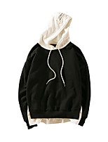 Men's Daily Casual Hoodie Solid Pure Color Hooded Micro-elastic Cotton Long Sleeve Spring