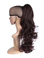 Synthetic Women Claw on Ponytail Clip in Pony Tail Hair Extensions Curly Style Hairpiece Dark Brown Hair Ponytail.