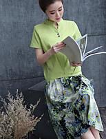 Для женщин На каждый день Лето Как у футболки Платья КостюмыМилые Однотонный С короткими рукавами Слабоэластичная