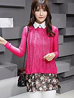 Mujer Regular Pullover Casual/DiarioUn Color Escote Redondo Manga Larga Piel Sintética Primavera Fino Elástico