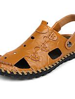 Men's Sandals PU Spring Summer Low Heel Black Dark Brown Khaki Under 1in