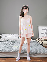 Women's 2 Pcs Shorts Sleepwear Suit Sleeveless Sweet Flowers Pajamas Suit