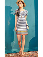 I BELIEVE YOUWomen's Casual/Daily Loose DressStriped Round Neck Above Knee Short Sleeve Cotton Polyester Summer Mid Rise Micro-elastic Thin