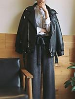 Для женщин Повседневные Весна Осень Кожаные куртки Рубашечный воротник,Cool Однотонный Обычная Длинный рукав,Шёлк