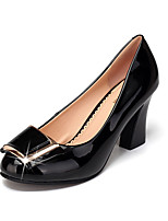 Women's Heels Formal Shoes Patent Leather Spring Fall Office & Career Chunky Heel Almond Black 5in & over