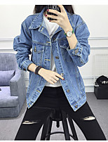Women's Going out Casual/Daily Simple Street chic Spring Fall Denim Jacket,Solid Square Neck Long Sleeve Regular Cotton