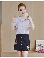 Women's Going out Casual/Daily Simple Street chic Shirt Skirt Suits,Solid Striped Notch Lapel ½ Length Sleeve strenchy