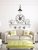 Modern Style DIY Cartoon Tea Set Mute Wall Clock