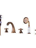Contemporary Antique Widespread Widespread with  Brass Valve Three Handles Five Holes for  Antique Copper , Bathroom Sink Faucet