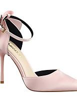 Women's Heels Comfort PU Silk Spring Casual Burgundy Blushing Pink Gold Flat
