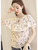 Women's Going out Cute Blouse,Floral Round Neck Short Sleeve Others