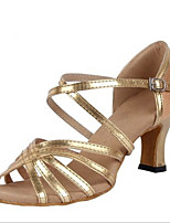 Women's Latin PU Sandals Heels Indoor Buckle Low Heel Gold 2