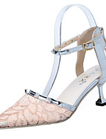 Women's Heels PU Summer Dress Buckle Stiletto Heel Black Beige Blushing Pink 1in-1 3/4in