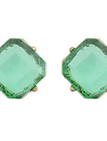 Korean Style Vintaget Square Simple Gem Stud Earrings Lady Daily Stud Earrings Gift Jewelry