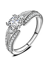 Ring Engagement Ring AAA Cubic Zirconia Circle Platinum  Round Jewelry For Wedding Party Gift 1 Set