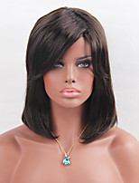 MAYSU Black Brown Medium Long BOBO Synthetic   Wig  Elegant Woman hair