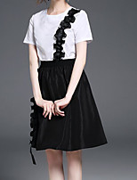 Women's Casual/Daily Simple Summer T-shirt Skirt Suits,Solid Round Neck Short Sleeve Micro-elastic
