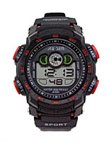 Hombre Reloj Deportivo Reloj digital Chino Digital Calendario Resistente al Agua Cronómetro Caucho Banda Negro