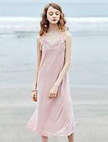 Feminino Solto Vestido,Festa Para Noite Casual Sensual Vintage Simples Sólido Decote V Médio Faixas Poliéster Todas as EstaçõesCintura