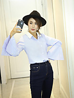 Women's Casual/Daily Simple Shirt,Solid Shirt Collar Long Sleeve Polyester Thin