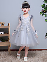 A-line Knee-length Flower Girl Dress - Satin Tulle Jewel with Flower(s) Lace