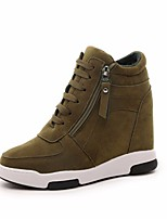 Для женщин Ботинки Полотно Полиуретан Весна Черный Серый Военно-зеленный На плоской подошве