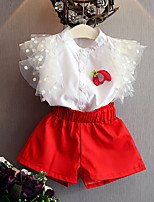 Girls' Solid Color Sets,Cotton Polyester Summer Spring Short Sleeve Clothing Set