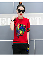 Women's Casual/Daily Active Spring Summer T-shirt Pant Suits,Animal Print Round Neck Short Sleeve