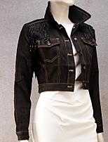 Для женщин На каждый день осень Джинсовая куртка Рубашечный воротник,просто Однотонный Короткие Длинный рукав