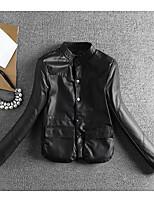 Для женщин Повседневные Весна/осень Кожаные куртки Воротник-стойка,На каждый день Однотонный Обычная Длинный рукав,Полиуретановая