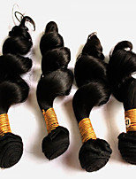 200g/4Pcs  8-28inch Peruvian Virgin Loose Wave Hair Natural Black Human Hair Weave Hair Weaves.