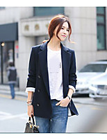 Women's Casual/Daily Simple Fall Blazer,Solid Peaked Lapel Long Sleeve Long Nylon