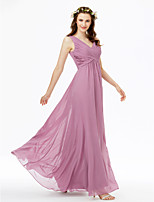 2017 LAN TING BRIDE Floor-length V-neck Bridesmaid Dress - Open Back Sleeveless Chiffon