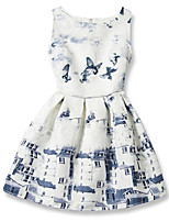 Girl's Cotton Fashion And Lovely Construction  A-line Collect Waist Vest Printing Princess Dress