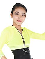 ג'אז חלקים עליונים בגדי ריקוד נשים לילדים ביצועים ניילון ספנדקס פוליאסטר רוכסן נקי חלק 1 חצי שרוול גבוה עליון