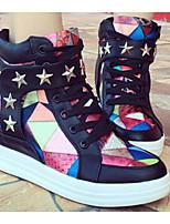 Women's Sneakers Comfort Synthetic Microfiber PU Pigskin Spring Casual Comfort Black Flat